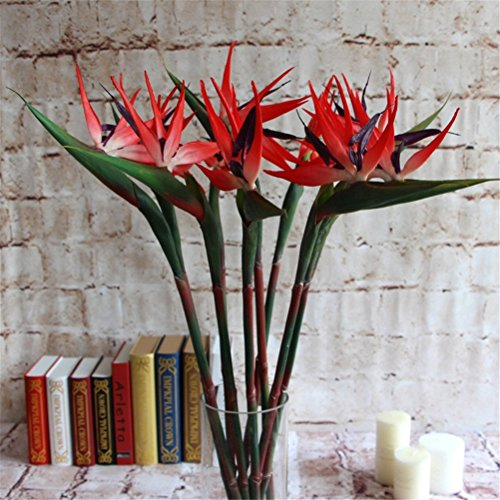 Lily Garden Pack of 6 Bird of Paradise Spray Natural (Red, 22.5 (Artificial Tropical Flowers)