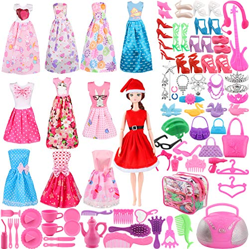 SOTOGO Doll Clothes Set for Barbie Dolls Include 11 Pieces Clothes Party Grown Christmas Outfits and 90 Pieces Different Doll Accessories for Little Girl