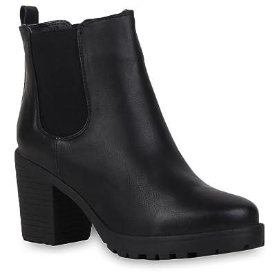 5bf603594e3763 Booties Damen Stiefeletten Plateau Chelsea Boots Plateau Blockabsatz  Leder-Optik Glitzer Schuhe 57790 Schwarz Avelar