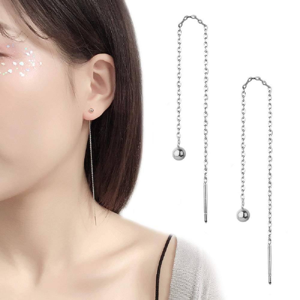 NewZenro Minimalist Threader Long Chain Dangle Drop Earrings for Women Girls Fashion 4mm Ball Studs Elegant Hanging 120mm
