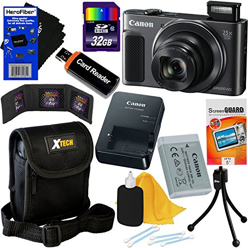 Video International (Canon PowerShot SX620 HS 20.2 MP Wi-Fi Digital Camera with 25x Optical Zoom & HD 1080p video (Black) International Version + 10pc 32GB Accessory Kit w/HeroFiber Gentle Cleaning Cloth)