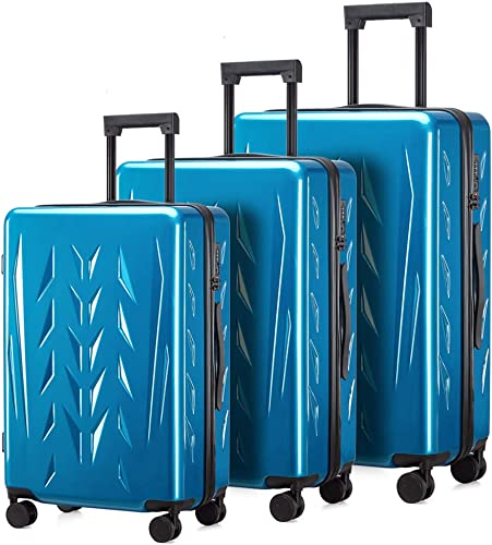 Zion Pishon PC Hardside Luggage with Spinner Wheels, Built-In TSA lock, Carry-On 20-Inch Green Light Blue, 3-Piece Set 20 24 28