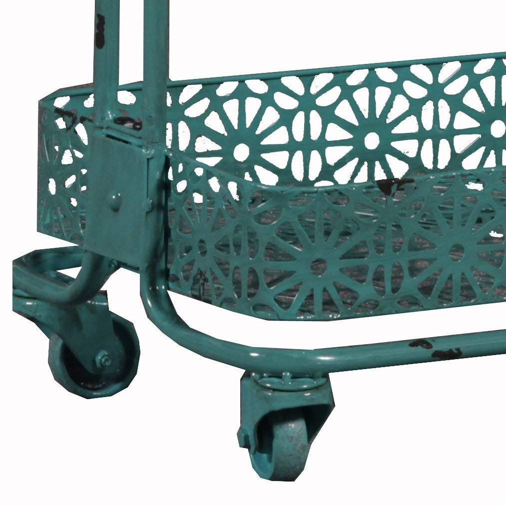 Linon 3-Tier Cart Metal, Turquoise by Linon (Image #3)
