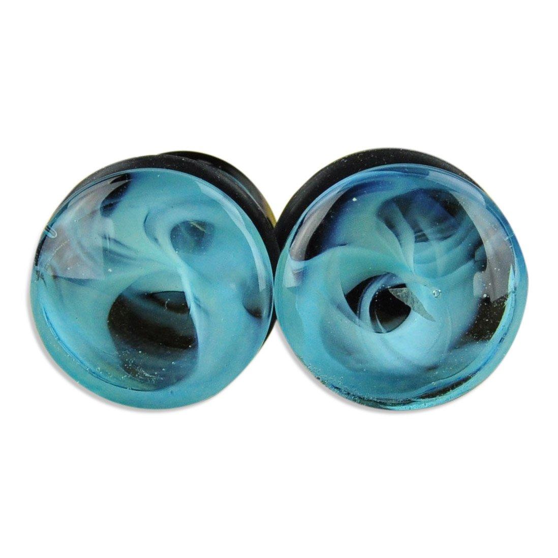 ArcticBuffalo Blue Marble Swirl Single Flare Glass Plugs Ear Gauges