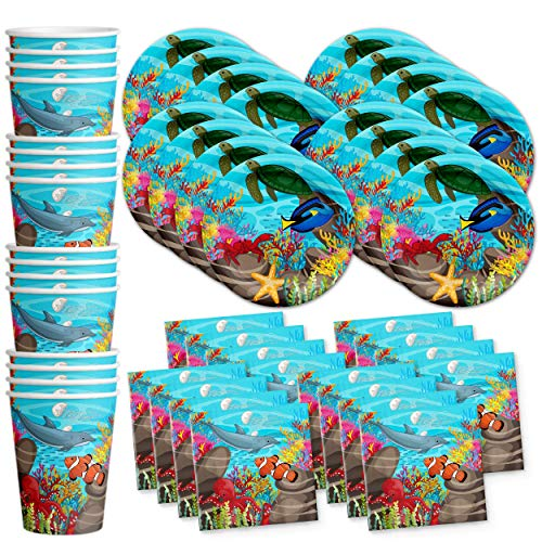 (Ocean Sea Life Birthday Party Supplies Set Plates Napkins Cups Tableware Kit for 16)