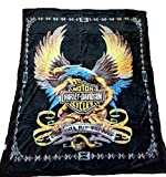 Empire Furniture USA Harley Davidson Blanket New Mink Queen Size Double Side Plush Reversible Black Eagle & Flames