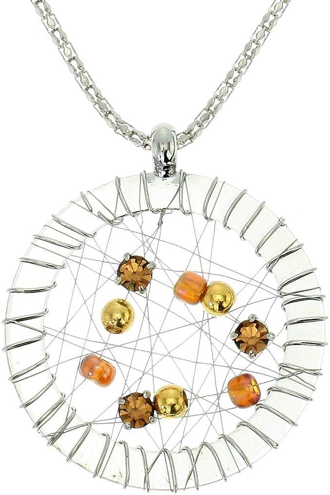 Collar de Colgantes en Color Plata - Collar de Cadena con Colgante Circular con Piedras de Cristal Naranja - Collar de Colgantes para Mujer