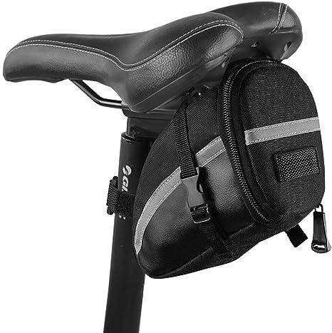 Bolsa de Sillín de Bicicleta, ikalula Impermeable Bolsas de Ciclismo Ajusta Paquete de Asiento de La Bicicleta Almacenamiento, Negro: Amazon.es: Deportes y aire libre