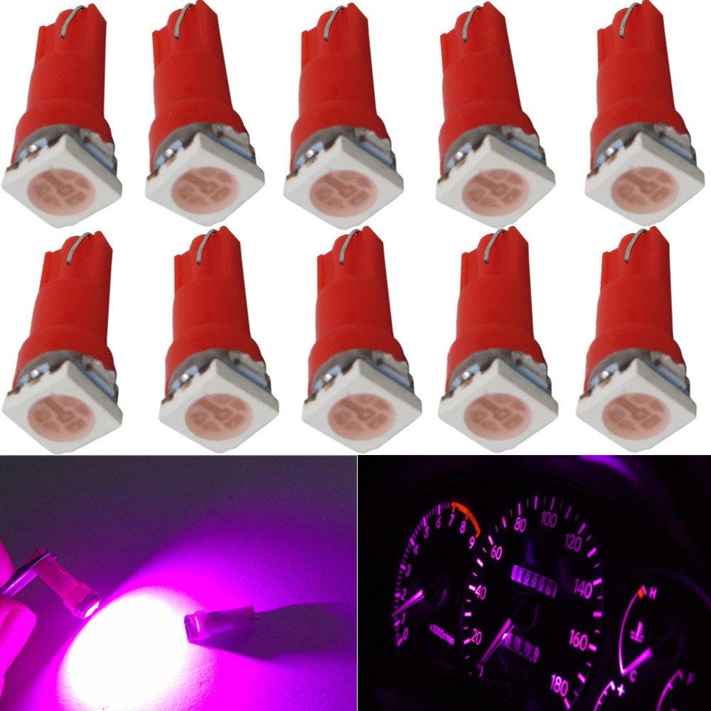 Blanc WLJH Pack de 10 T5 74 73 2721 Coin LED Ampoule Pour Voiture Auto Tableau de bord Instrument Gauge Panneau Lumi/ère