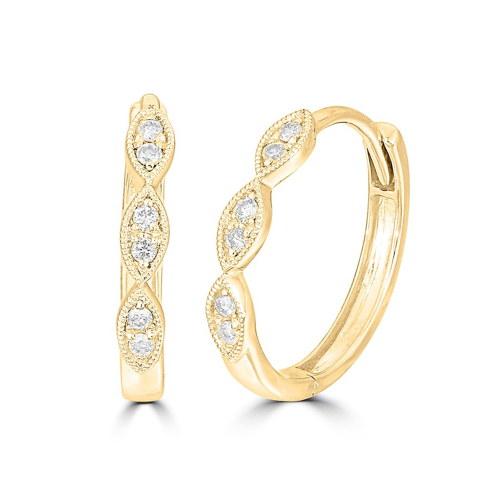 Color G-H Clarity I2 Diamond Stackable Hoop Earrings Wickersham Closeouts 14K Yellow Gold 1//10 Ct.tw