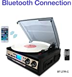 Boytone BT-27R-C Bluetooth connection 3-Speed Stereo Turntable, 2 built in Speakers Digital LCD Display AM/FM Radio, USB/SD/AUX+ Cassette/MP3 & WMA Playback /Recorder & Headphone Jack + Remote control