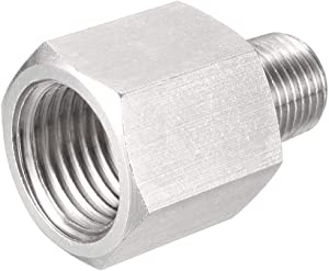 uxcell Reducing Pipe Fitting Adapter 1/8 PT Male x 1/4 G Female, Stainless Steel for Water Oil Air Pressure Gauge