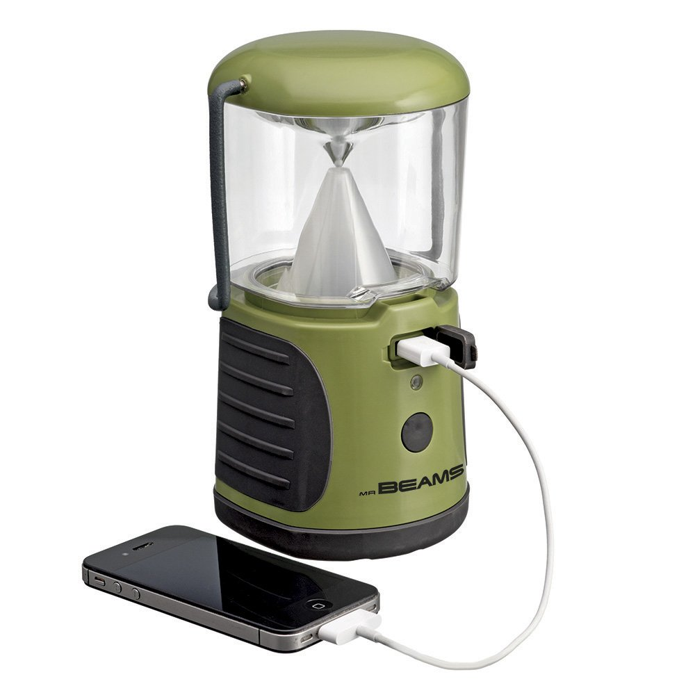 Mr. Beams MB472 UltraBright 260 Weatherproof Lumen LED Lantern with USB Port as a Backup Battery Charger, Green, 2-Pack by Mr. Beams (Image #1)