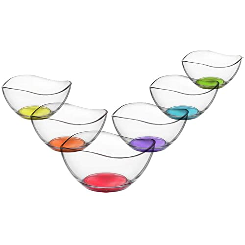 6x Gurallar Artcraft Coral glass DESERT bowls 310cc boxed vir261