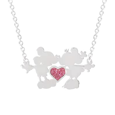 f095c21c4 Disney Jewelry for Women and Girls, Silver Plated Mickey and Minnie Mouse  Kiss with Pink