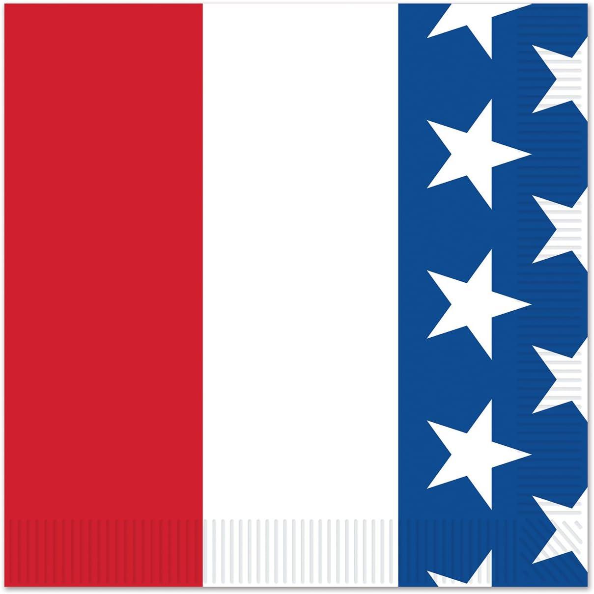Beistle Patriotic Beverage Napkins, standard, Red/White/Blue