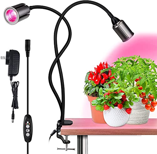 Kolem COB LED Grow Light,Full Spectrum Indoor Plants Light with 3 6 12H Timer-Auto on Off Growing Lamp for Indoor Plants-4 Dimmable Levels, Dual Heads Grow Lamp, Longer Gooseneck