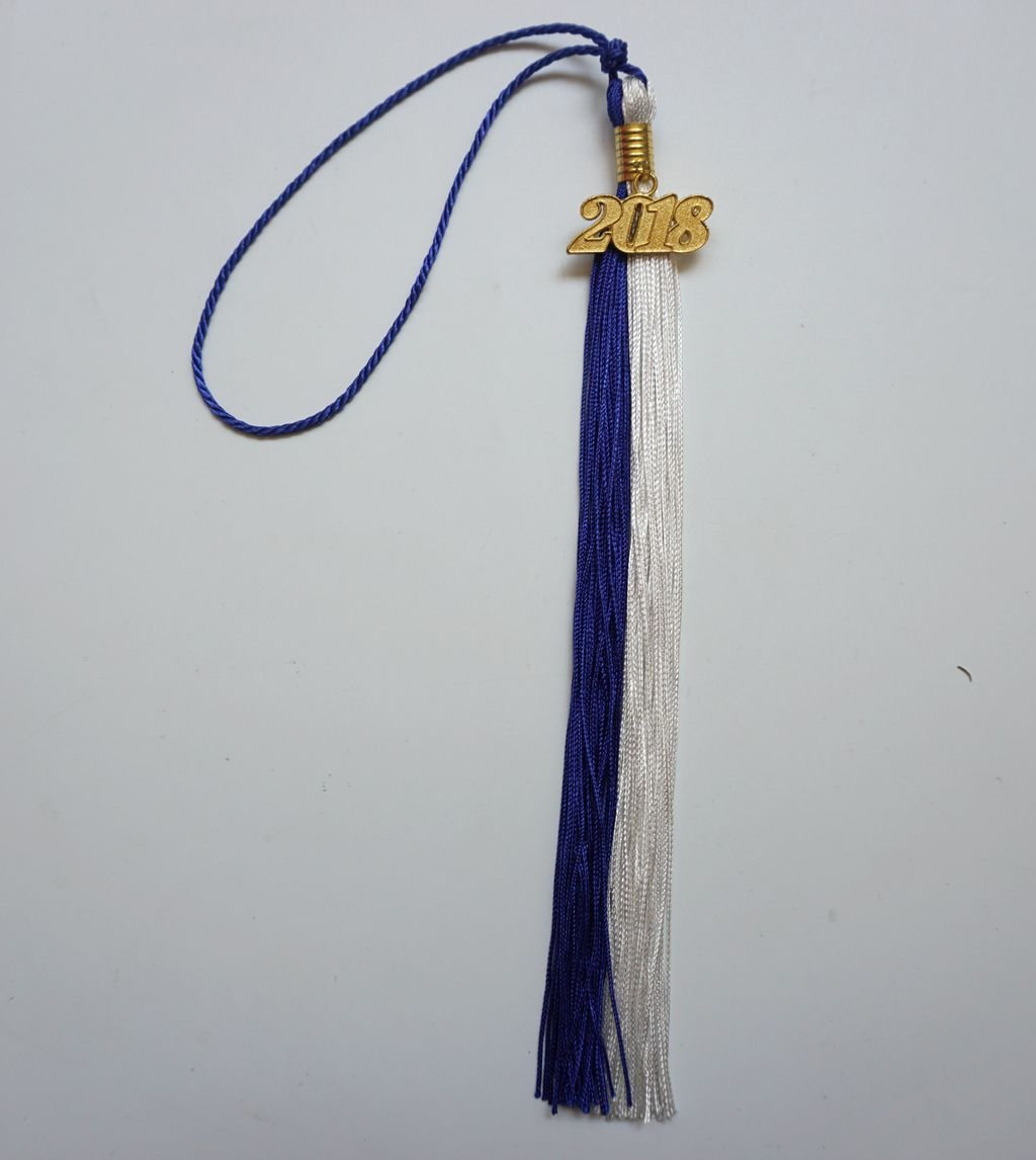 Graduation Tassel Two-Colored with 2018 Gold Year Charm Grad Day Black//Orange
