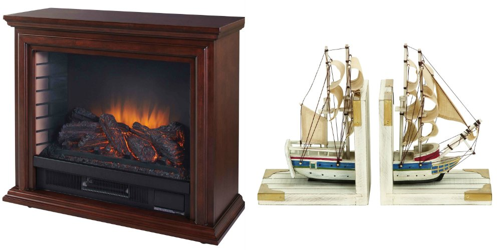 Portable Electric Fireplace Great for Home Decoration and Heating, Come with Free Gift of Nautical Coastal Book End (Set of 2)