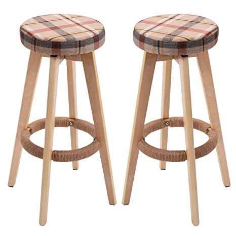 Excellent Costway 29 Winsome Round Wood Bar Stool Dining Chair Counter Height Linen Seat 2 Red Ibusinesslaw Wood Chair Design Ideas Ibusinesslaworg