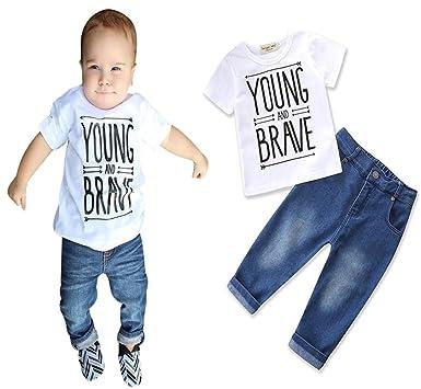 967c00f514ce Amazon.com  Newborn Toddler Kid Baby Boy Clothes Letter Print T ...