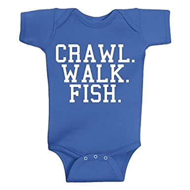 65f75c5ed Amazon.com  Southern Designs Crawl Walk Fish Baby Onesie - Funny ...
