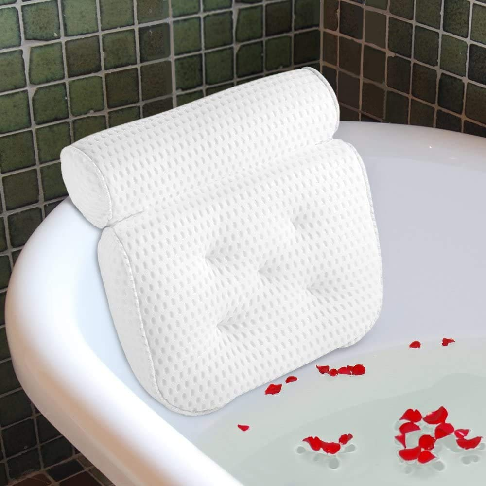 Bath Pillow for Bathtub, Hot Tub, Jacuzzi and Home Spa. Spa Pillow for Women & Men,with 4D Air Mesh Breathable,Helps Support Head, Neck, and Back.