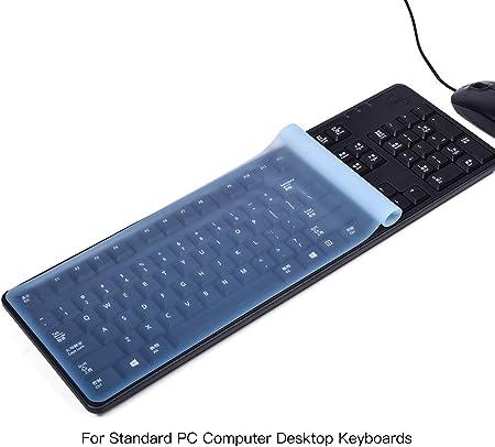 Funda universal para teclado de ordenador de tamaño estándar para teclados de escritorio, Casebuy, ultradelgada, resistente al agua, antipolvo, de ...