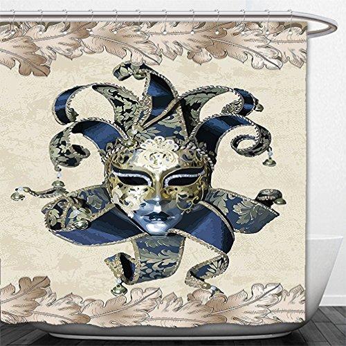 Venetian Masks Los Angeles (Interestlee Shower Curtain European Art Italian Themed Venetian Mask Leaves Romantic Navy Beige Gold)