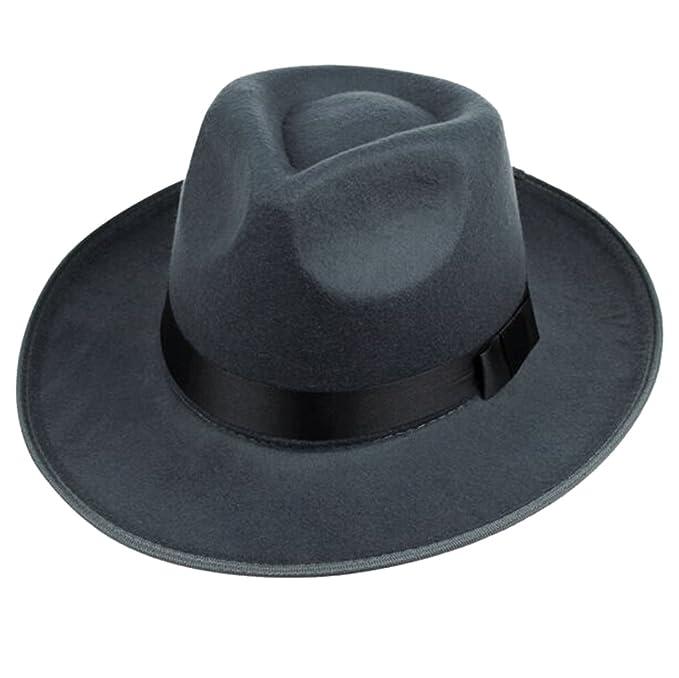Men s Fedora Party Wedding Wide Brim Floppy Flat Hat at Amazon Men s  Clothing store  bf930af7029