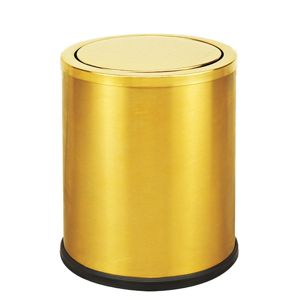Stainless Steel Trash Cans Household Office Hotel Trash Cans Clamshell 10L Shaking Mute ( Color : Gold )