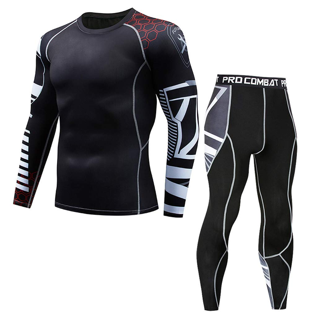 Athletic Running Cycling Tights Suit Mens Fitness Mountain Bike T-Shirt Pant Bodybuilding Skin Tight-Drying Top Black by Hotcl