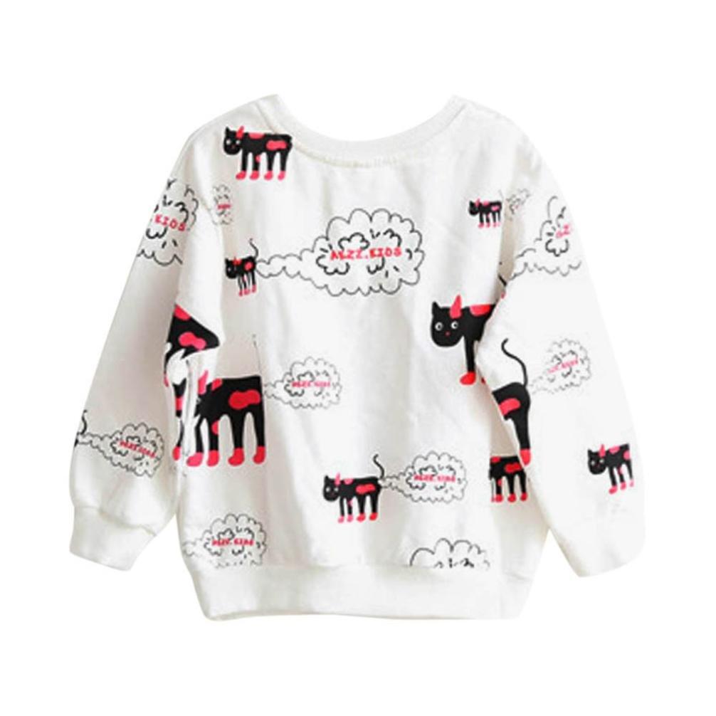 Lisin Printing Long Sleeve Toddler Kids Baby Girls Warm Pullover Tops T-Shirt Blouses