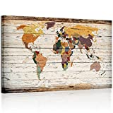 wood wall art XLarge Vertical Wood Styled Map Canvas Prints Framed Vintage World Map Home Wall Decoration Art (2)