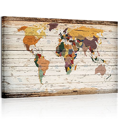 Xlarge Vertical Wood Styled Map Canvas Prints Framed Vintage World Map Home Wall Decoration Art (2) Wood Framed Canvas