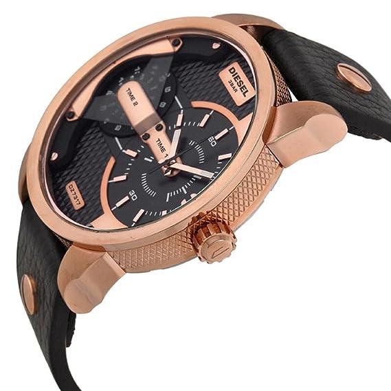 9b727269b0ec Diesel Mini Daddy - Reloj análogico de cuarzo con correa de cuero para  hombre
