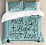 IDOWMAT Hope Twin Duvet Cover Sets 4 Piece Bedding Set Bedspread with 2 Pillow Sham, Flat Sheet for Adult/Kids/Teens, Hand Lettering Spiritual Faith Hope Love Quote with Floral Arrangement Hearts