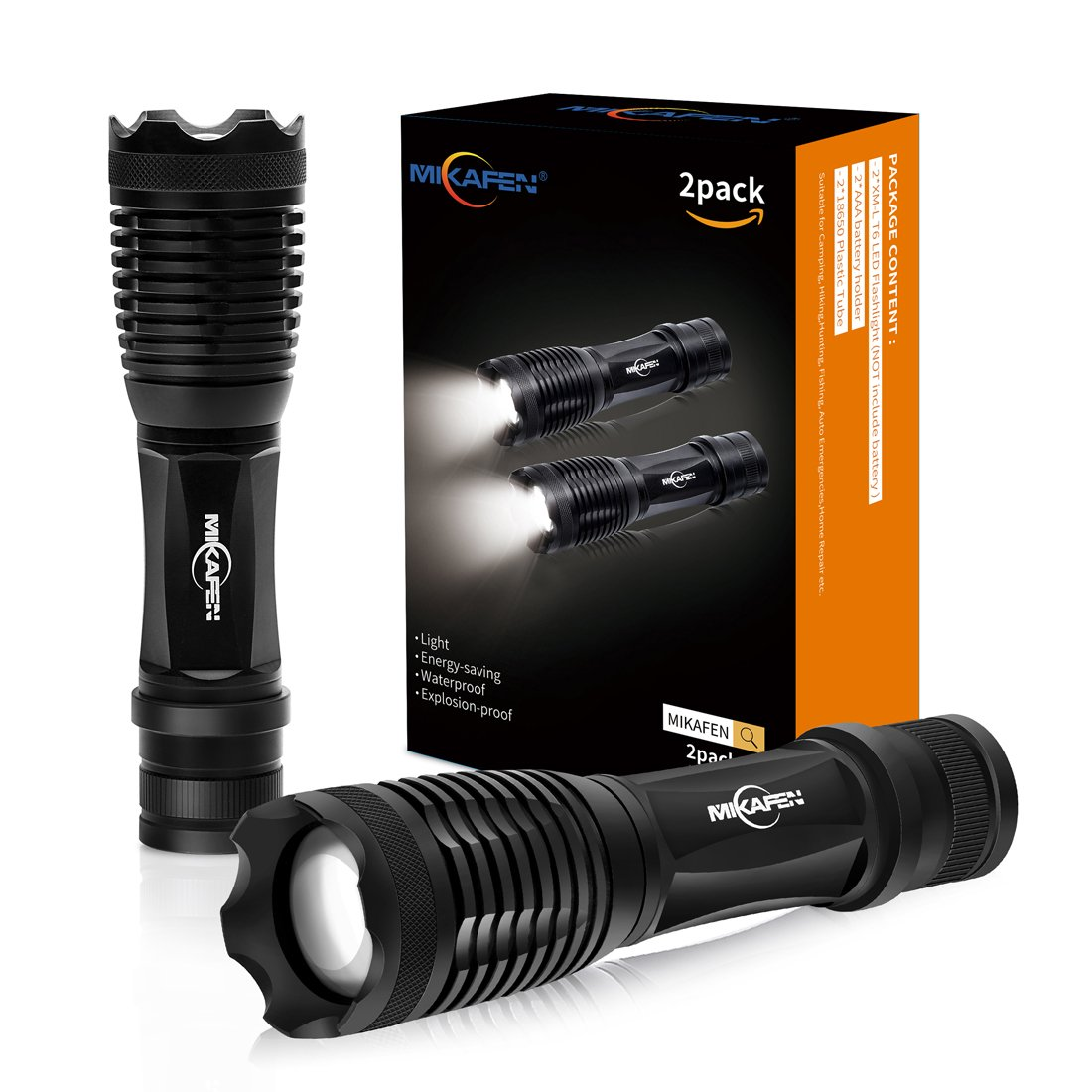 [2 PACK] LED Tactical Flashlight 5 Modes,Flashlights High Lumens, Zoomable, Water Resistant, Handheld Flashlight - Best For Camping, Hiking,Auto Emergencies, and Home Repair