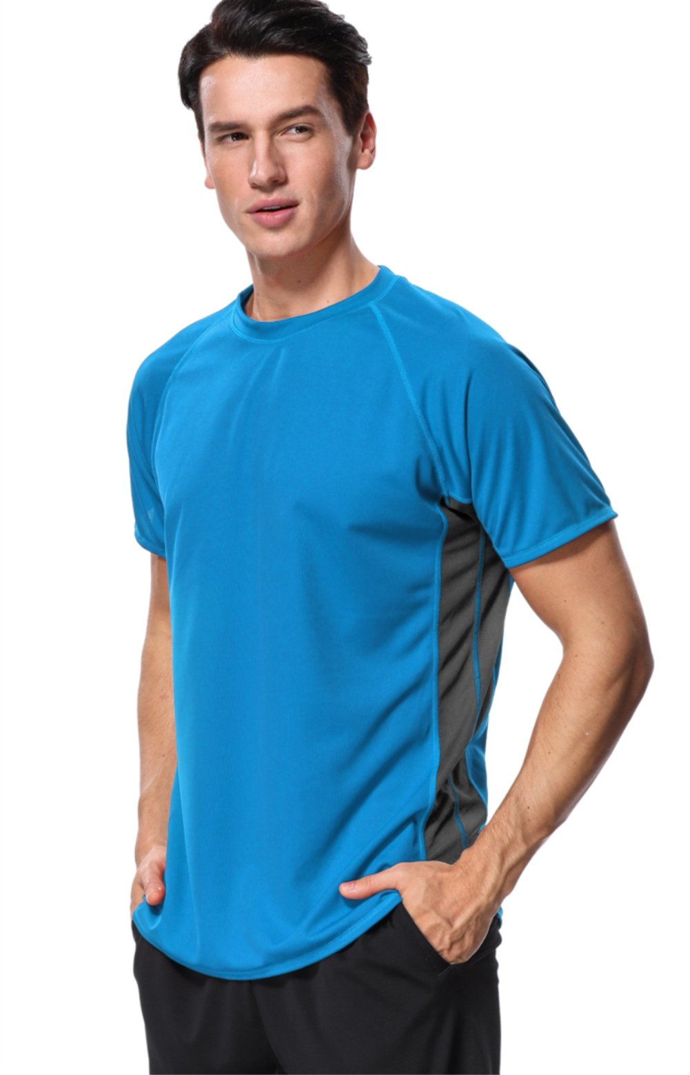 Anfilia Men's Colorblock Surf Shirts for Men Short Sleeve Wetsuit UPF 50+ XL