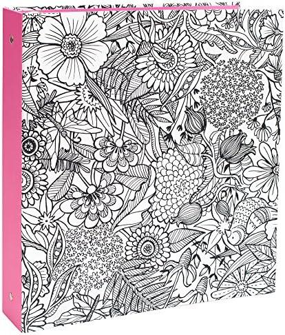 American Crafts 373578 大人用 塗り絵本 フローラルバインダー