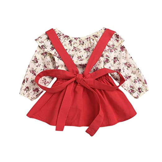 1a94cea764 Amazon.com  Sagton® 2pcs Kids Baby Girls Clothes Set Floral Ruffles Tops+  Strap Skirt Outfits  Clothing