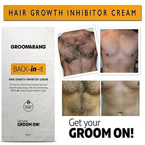 Crema Groomarang Back In It para inhibir el crecimiento de vello corporal y facial, alternativa moderna a la crema de huevos de hormigas, hecha en el Reino ...