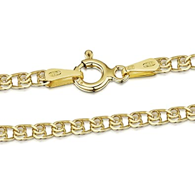 Amberta 18K Gold Plated on 925 Sterling Silver 2 mm Prince of Wales - Singapore Chain Necklace 14