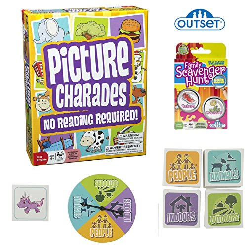 Picture Charades for Kids with Family Scavenger Hunt Card Game - Family Games Bundle 2-Pack - No Reading Required