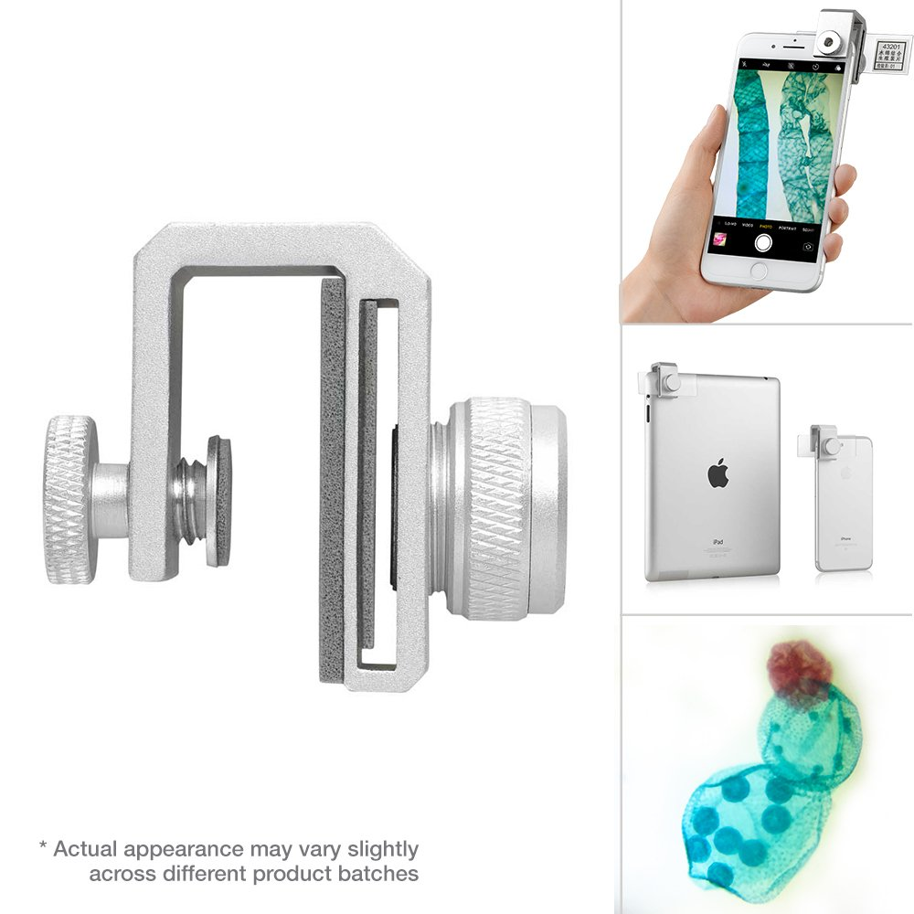 Supereyes Smartphone Microscope Camera Adapter for iPhone and Android | 75x Optical Zoom | Student Biological Compound Microscope kit with Prepared Sample Slides | LED Illumination