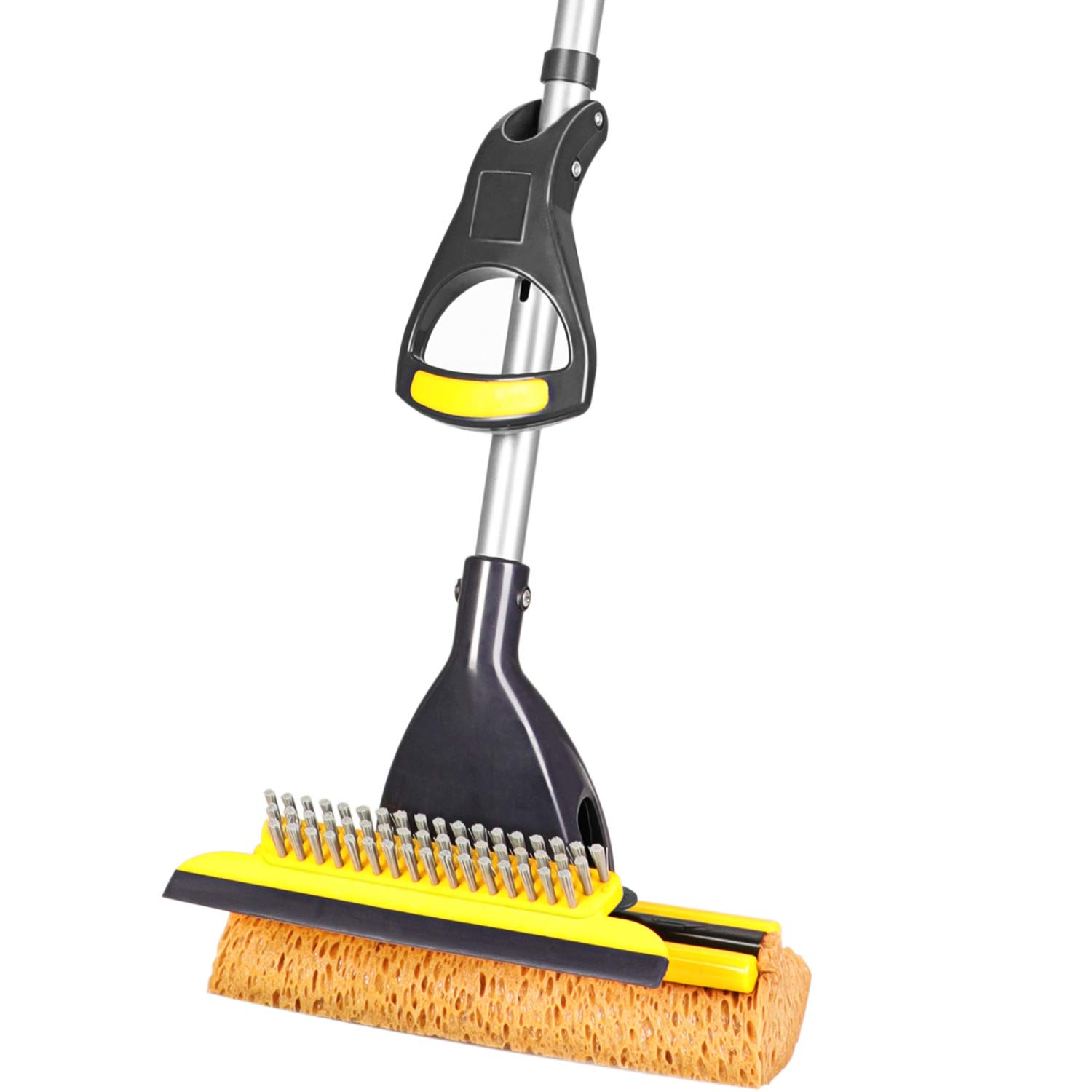 Yocada Sponge Mop Home Commercial Use Tile Floor Bathroom Garage Cleaning with Squeegee and Extendable Telescopic Long Handle 41-53 Inches Easily Dry Wringing