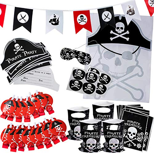 Pirate Party Supplies for Kids Birthday - Set for 16 Guests - Pirate Party Decorations - Pirate Party Favors by -