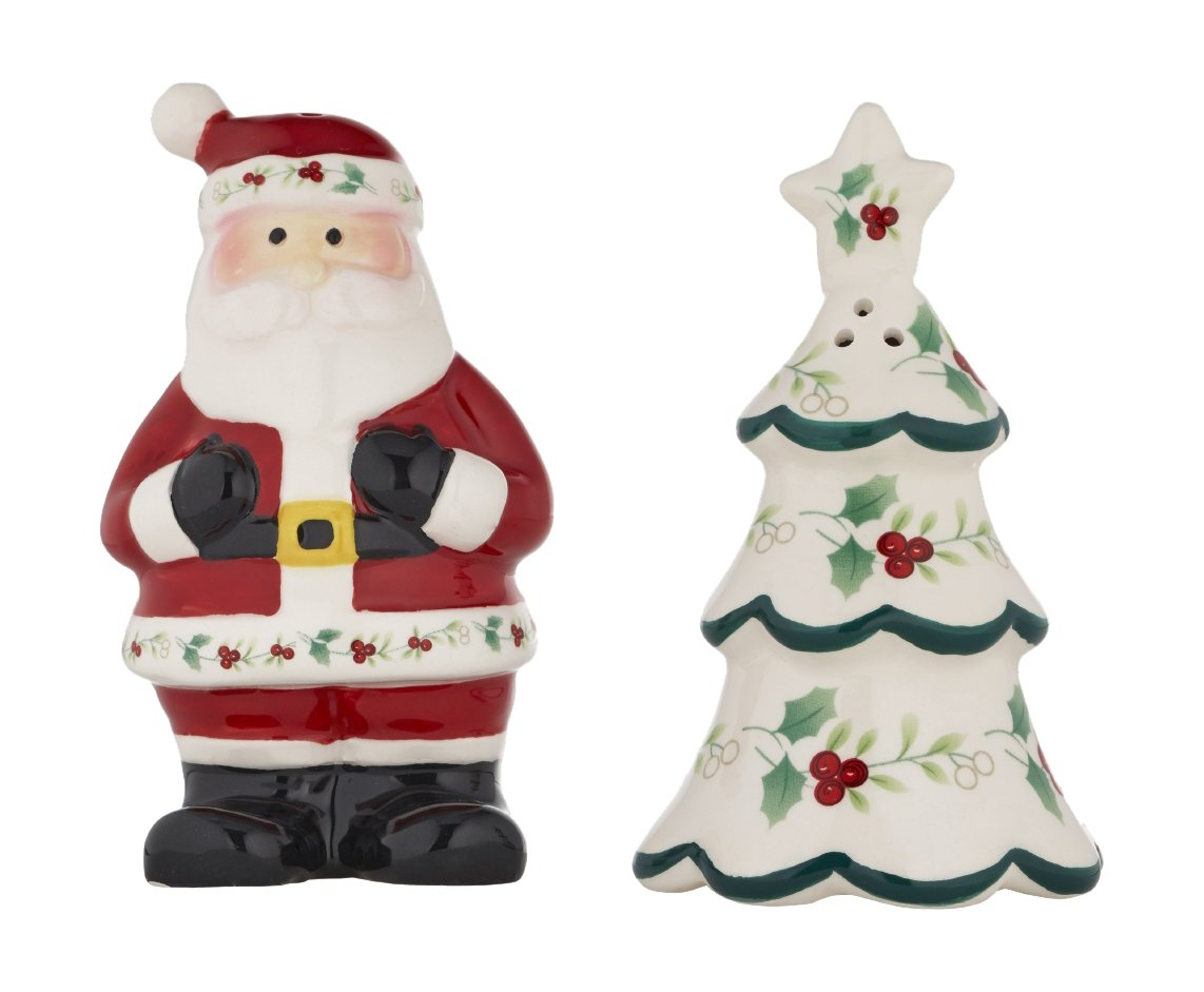 Pfaltzgraff 5187958 Winterberry Tree/Santa Salt and Pepper Shaker Dinnerware Set, 4.25'', White