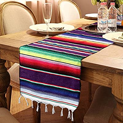 OurWarm 14 x 84 inch Mexican Serape Table Runner for Mexican Party Wedding Decorations, Fringe Cotton Table Runner - Mexican blanket table runner 14 by 84 inch Woven serape table runner is hand woven, cotton and tassel make it unique Mexican table runner make your special moments even more memorable, suitable for Fiesta or Cinco de Mayo celebration, pool party, mexicana party and tribal party - table-runners, kitchen-dining-room-table-linens, kitchen-dining-room - 61Wahm6EohL. SS400  -