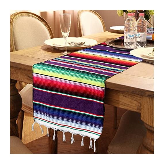 OurWarm 14 x 84 inch Mexican Serape Table Runner for Mexican Party Wedding Decorations, Fringe Cotton Table Runner - Mexican blanket table runner 14 by 84 inch Woven serape table runner is hand woven, cotton and tassel make it unique Mexican table runner make your special moments even more memorable, suitable for Fiesta or Cinco de Mayo celebration, pool party, mexicana party and tribal party - table-runners, kitchen-dining-room-table-linens, kitchen-dining-room - 61Wahm6EohL. SS570  -